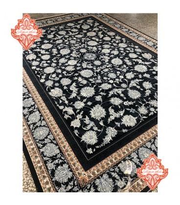 فرش برجسته طرح افشان افشاری سرمه ای