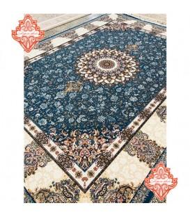 فرش برجسته طرح ماهور آبی کاربنی