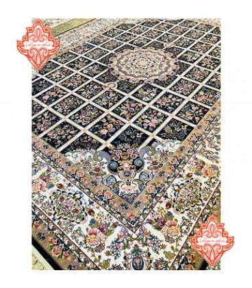 فرش برجسته طرح گلسا سورمه ای
