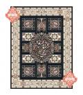 فرش برجسته طرح قاب آینه سورمه ای
