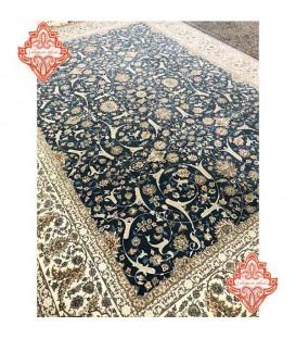 فرش ماشینی 1200 شانه طرح افشان اسلیمی کاربنی