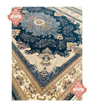 بهترین فرش کاشان محیا آبی ۷۰۰شانه گل برجسته