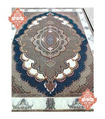 قالی ماشینی ایرانی طرح ریز ماهی سرمه ای
